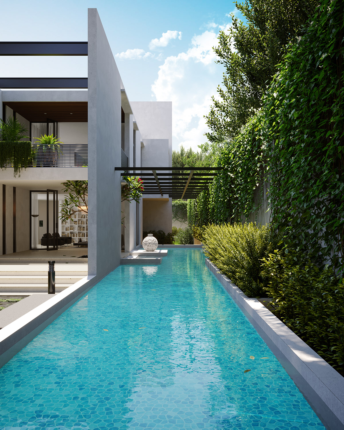 Image may contain: swimming pool, tree and outdoor