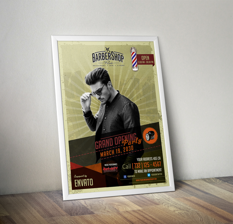 Free  Barbershop Retro Flyer Template On Behance