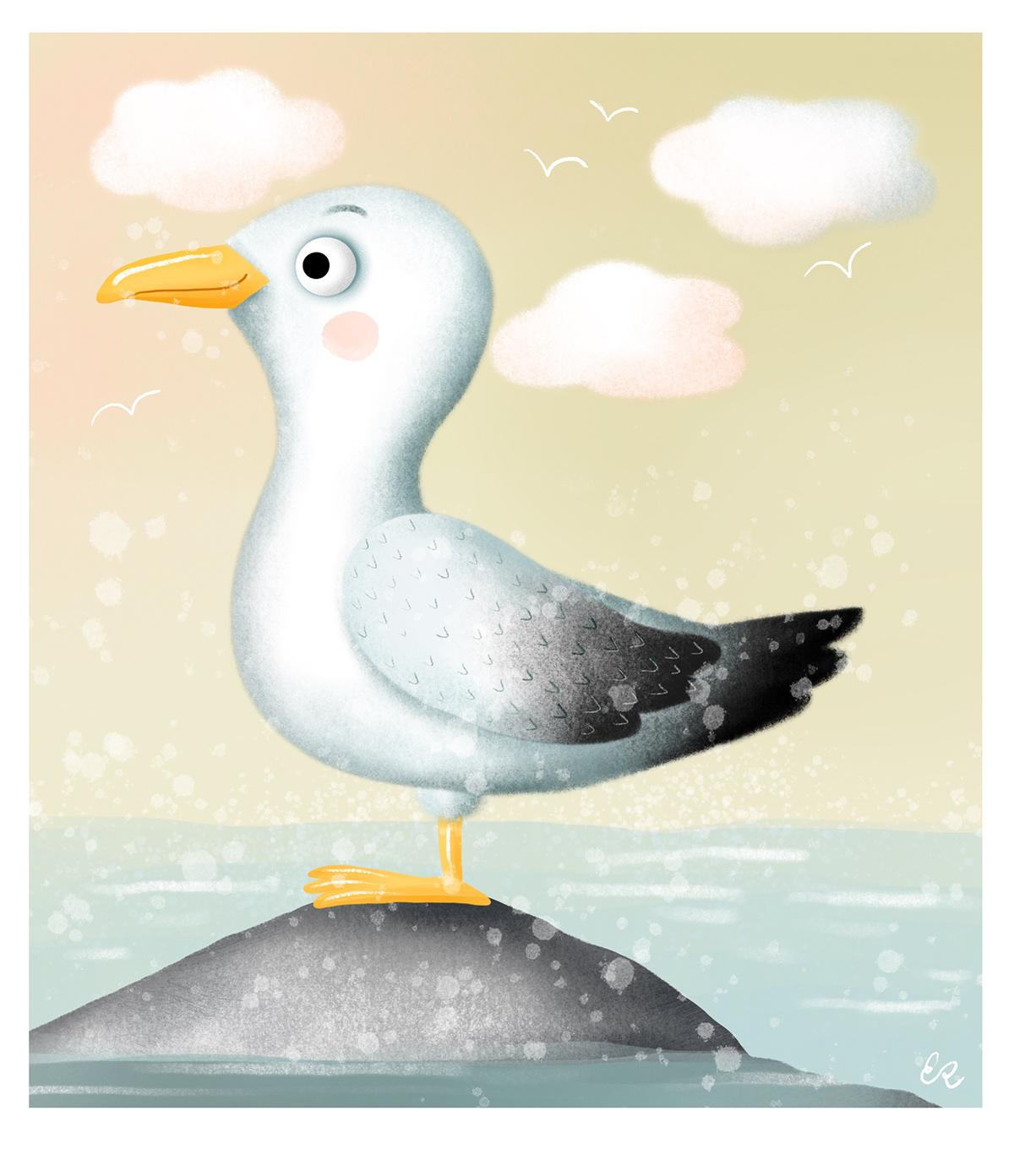 autumn book children illustration little girl school sea seagull