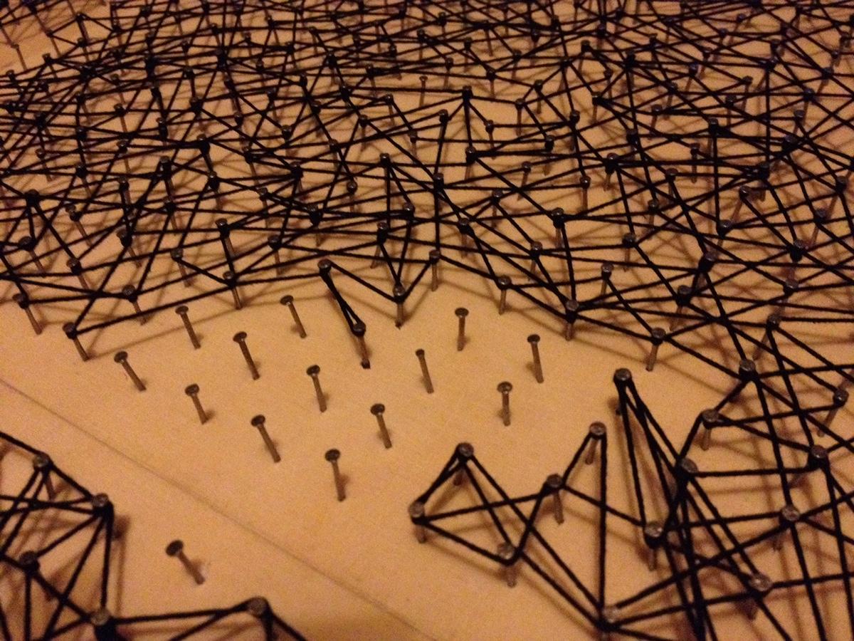 art,tableau,puzzle,wood,clous,fil,tissage,dessin,cri,Sculpt,sculpture,3D
