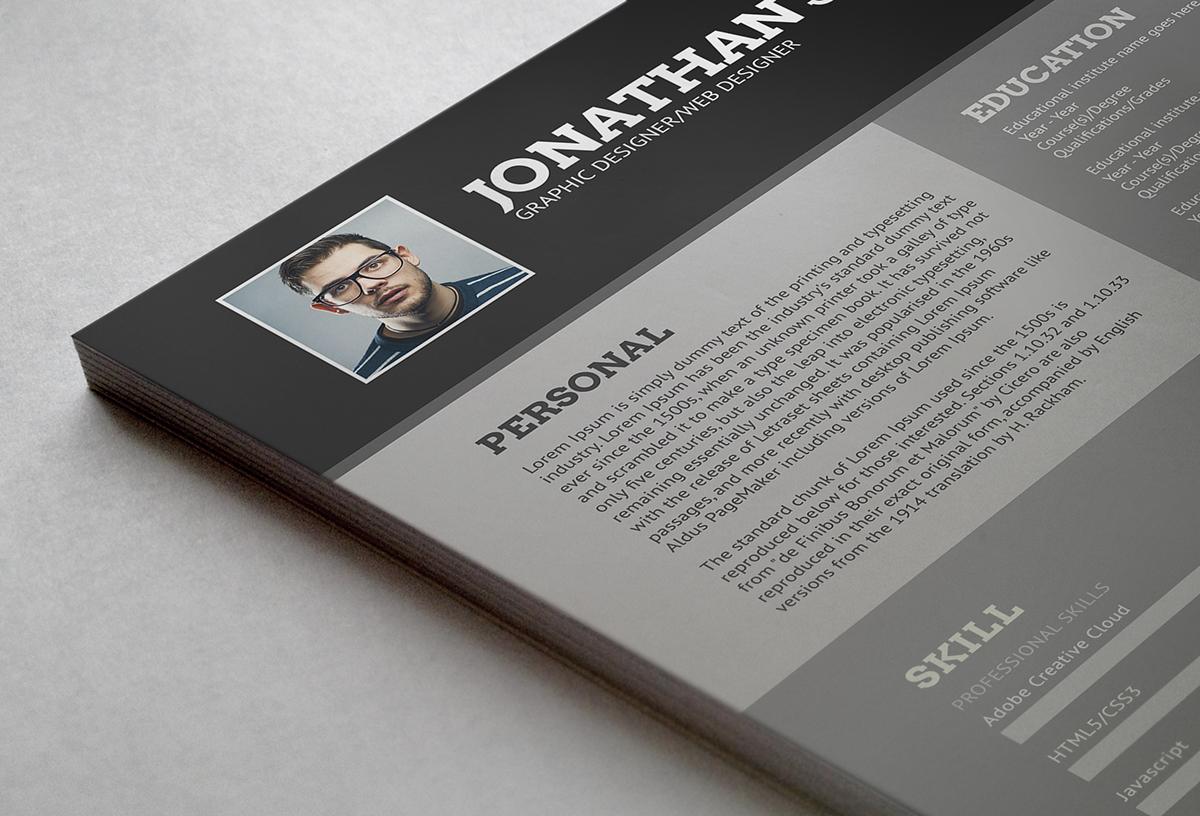 Resume CV template bio job psd editable flat clean free freebie print ready