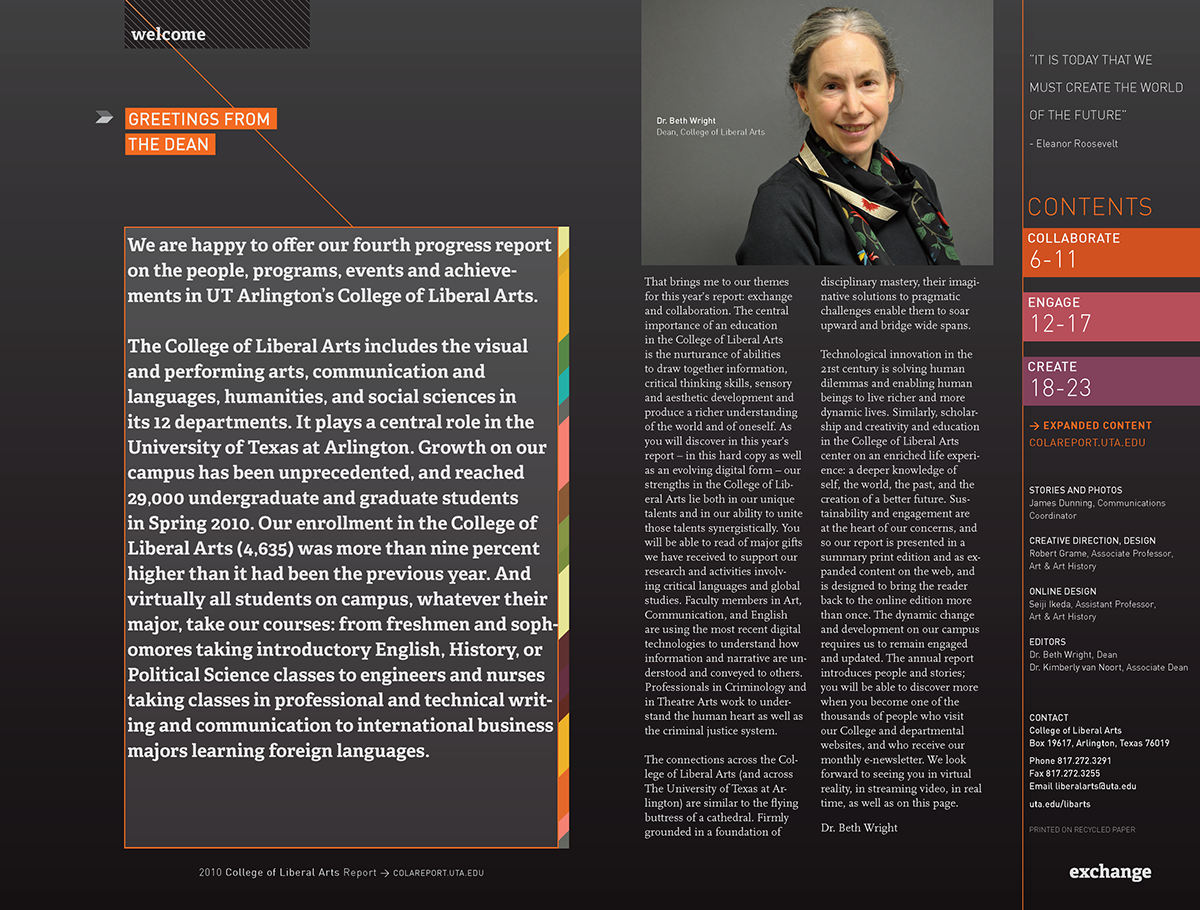 UTA College of Liberal Arts Annual Report : : 2010 on Behance