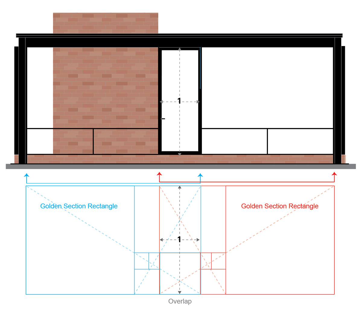 Glass house side elevation and golden section proportions