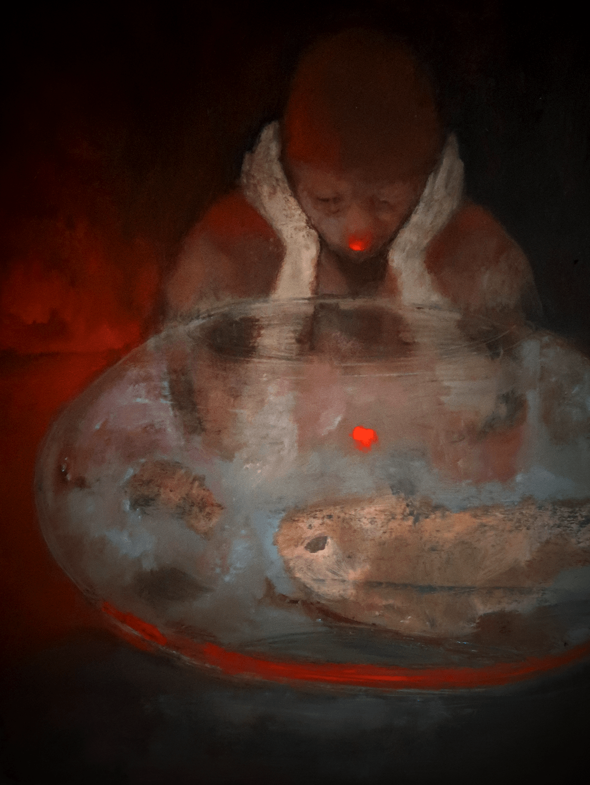 red tone Oil Painting mood