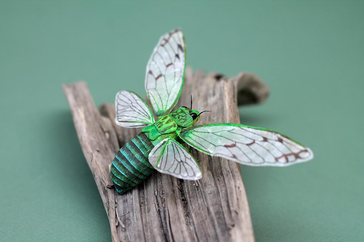 paper art craft insect paper sculpture naturalistic crepe paper art cicada Zikade
