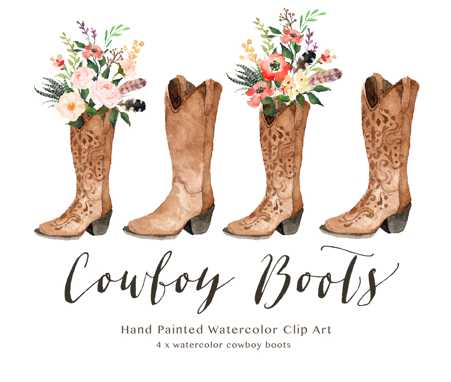 Brand new Watercolor cowboy boots on Behance NY71