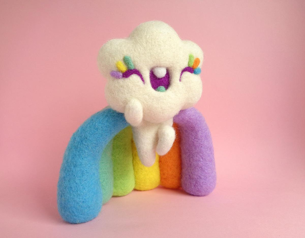art toy droolwool Felt wool fiber art fiber art toy Needle Felting Rainbow cloud soft sculpture toy art Wool Art