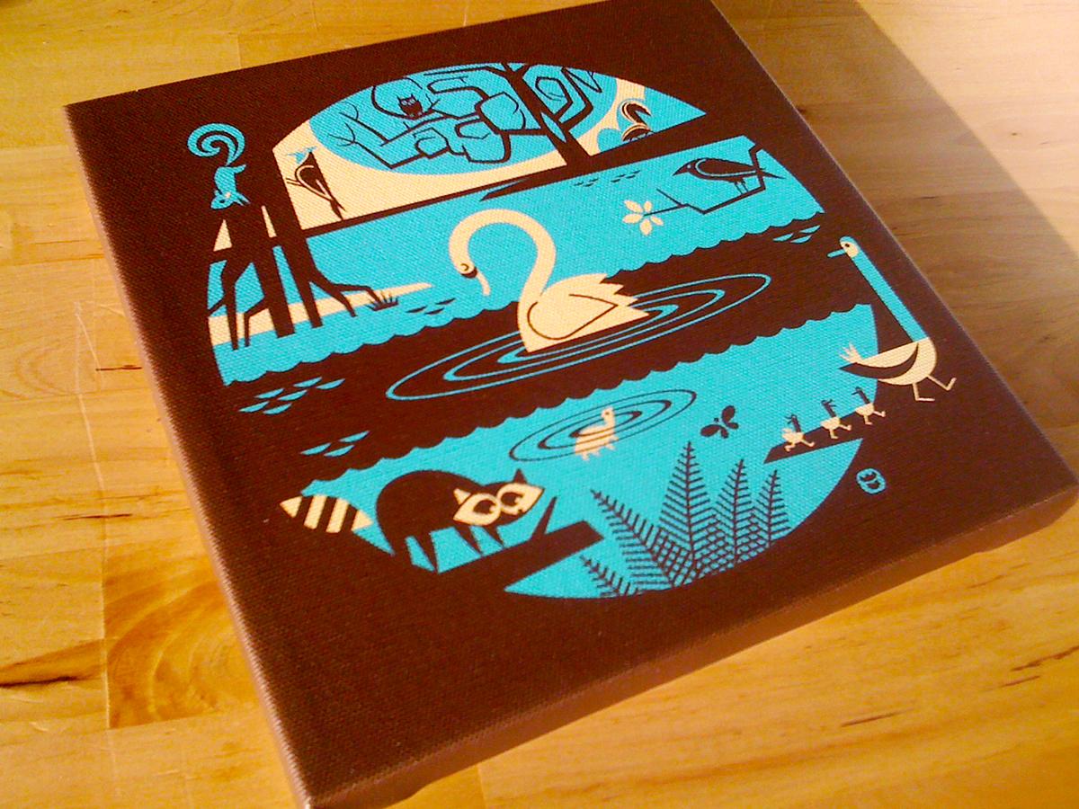 monsters prints canvas robots canvas print animals swan raccoon ducks pond lagoon Nature