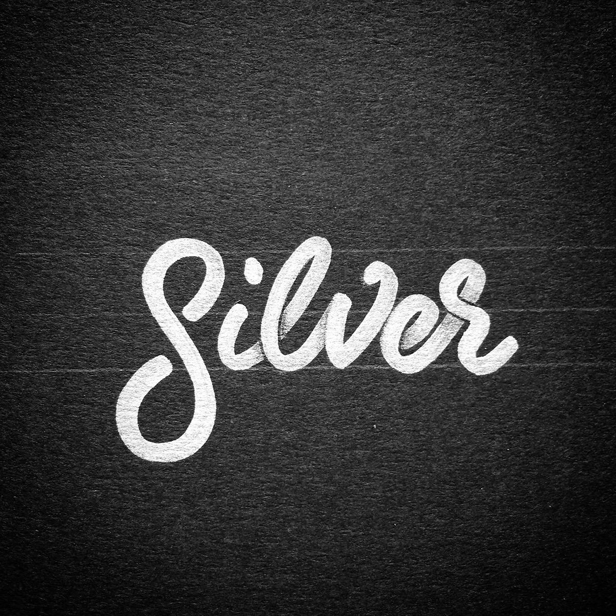 lettering Handlettering brushlettering metallic silver gold type