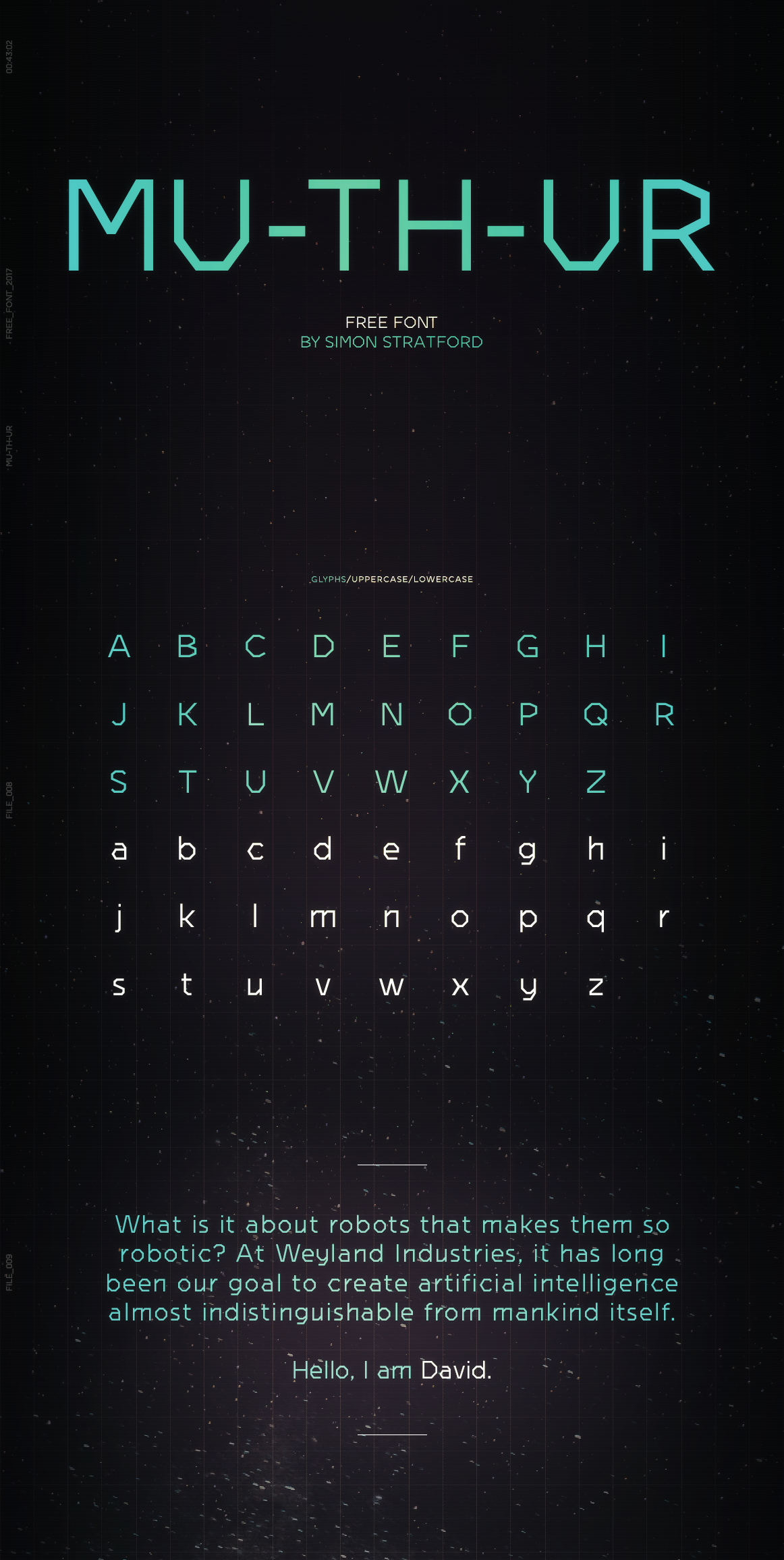 mu-th-ur font Typeface Free font free type typeface design muthur font Simon stratford itsmesimon