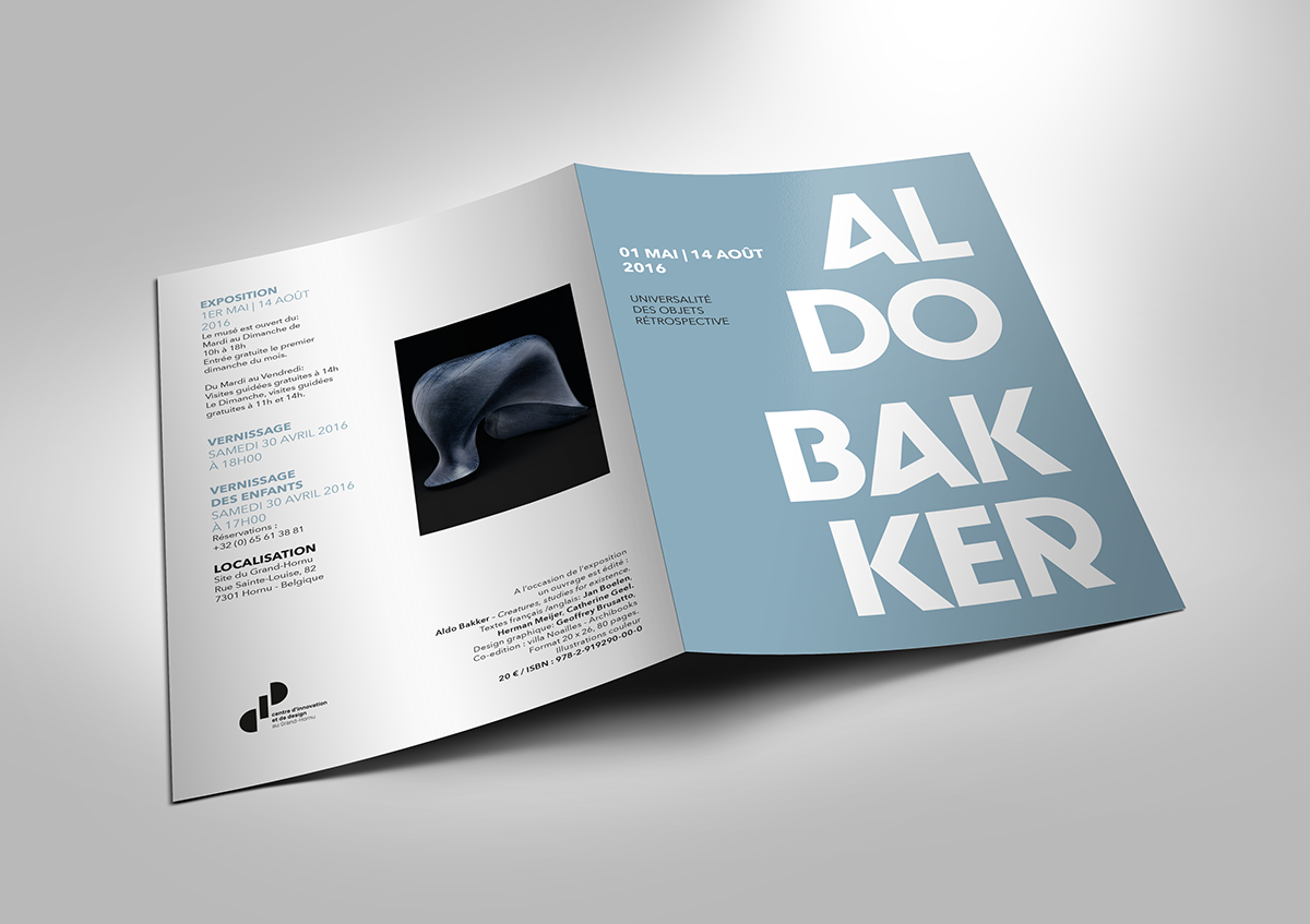depliant,stationary,Aldo Baker,graphic design ,typography  ,mise en page,exposition,sculpture,design