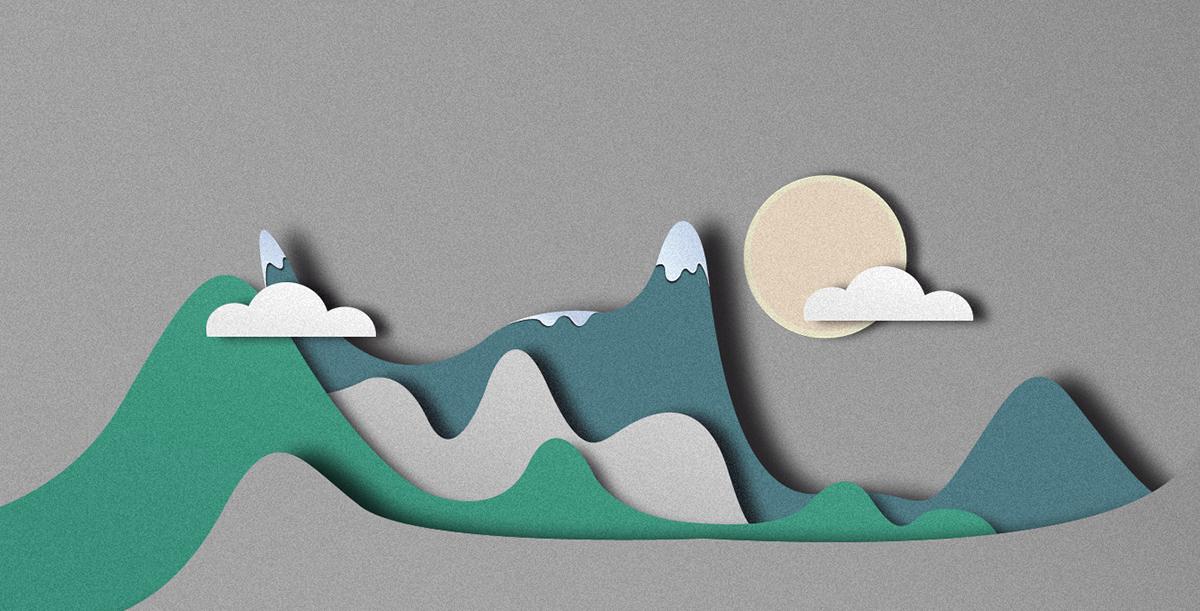 nextin ILLUSTRATION  Landscape graphic design  flat paper style material design material