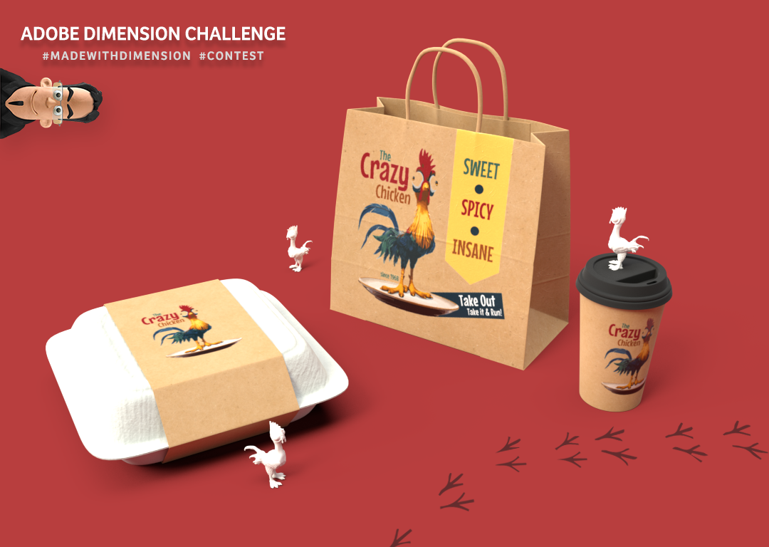 The Crazy Chicken - Adobe Dimension Challenge on Behance