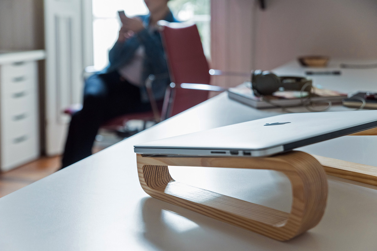 Sustainable ecological fair trade wood natural Laptop Stand green eco minimal versatile portable