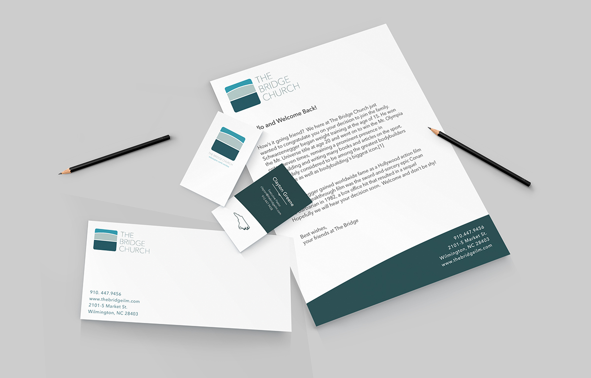 The bridge church stationary on behance following the branding already in place i put together some business cards letterhead and envelope designs colourmoves