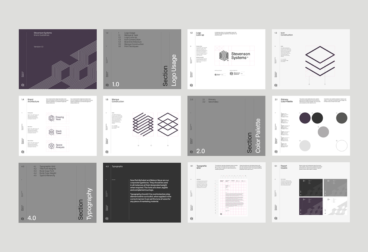 Stevenson systems branding for Office design handbook