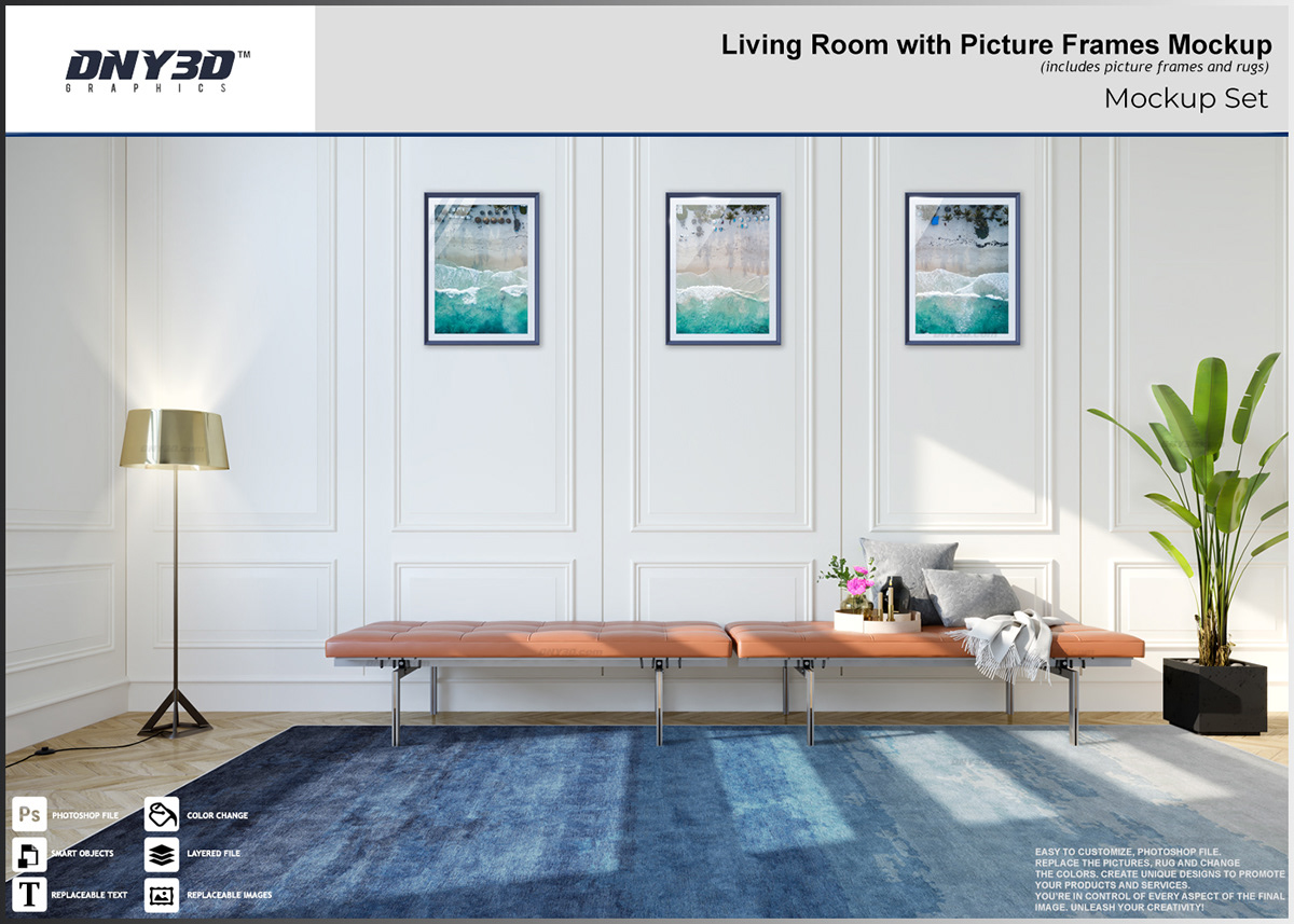 Living Room With Picture Frames On Behance