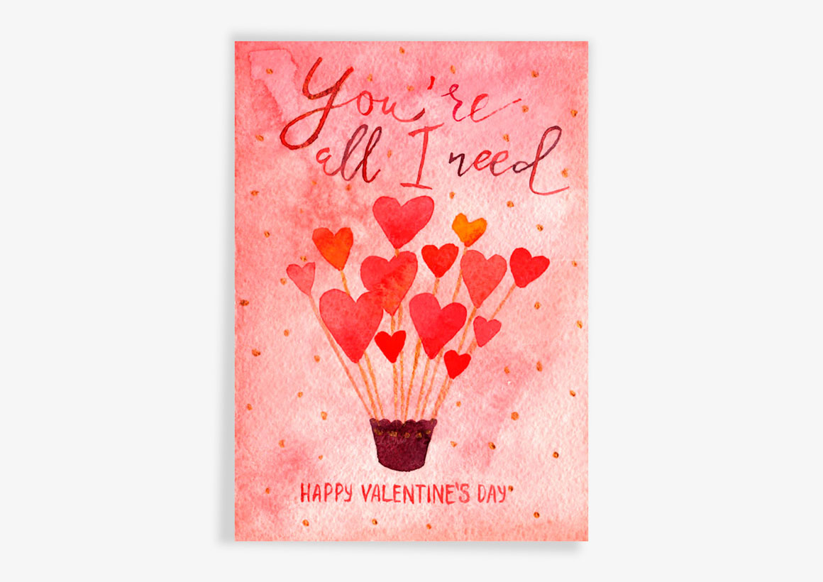 watercolor lettering valentine's day cards on behance