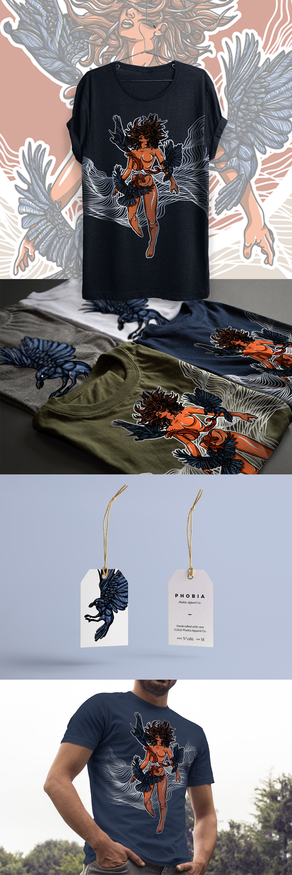 screen print shirt design birds woman SILK fear phobia apparel