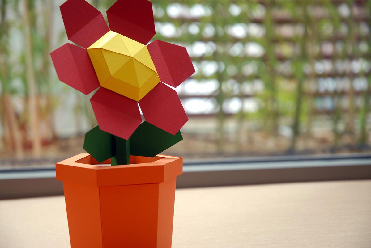 Pot flower red diy papercraft kit on behance pot flower red diy papercraft kit pre cut mightylinksfo