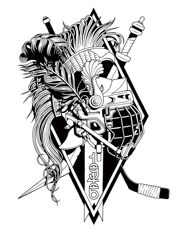 print Drawing  Black&white graphics liner artwork