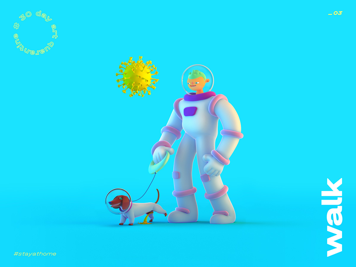 3D challenge Character cinema4d Coronavirus Isolation metaphor minimal Quarantine ILLUSTRATION