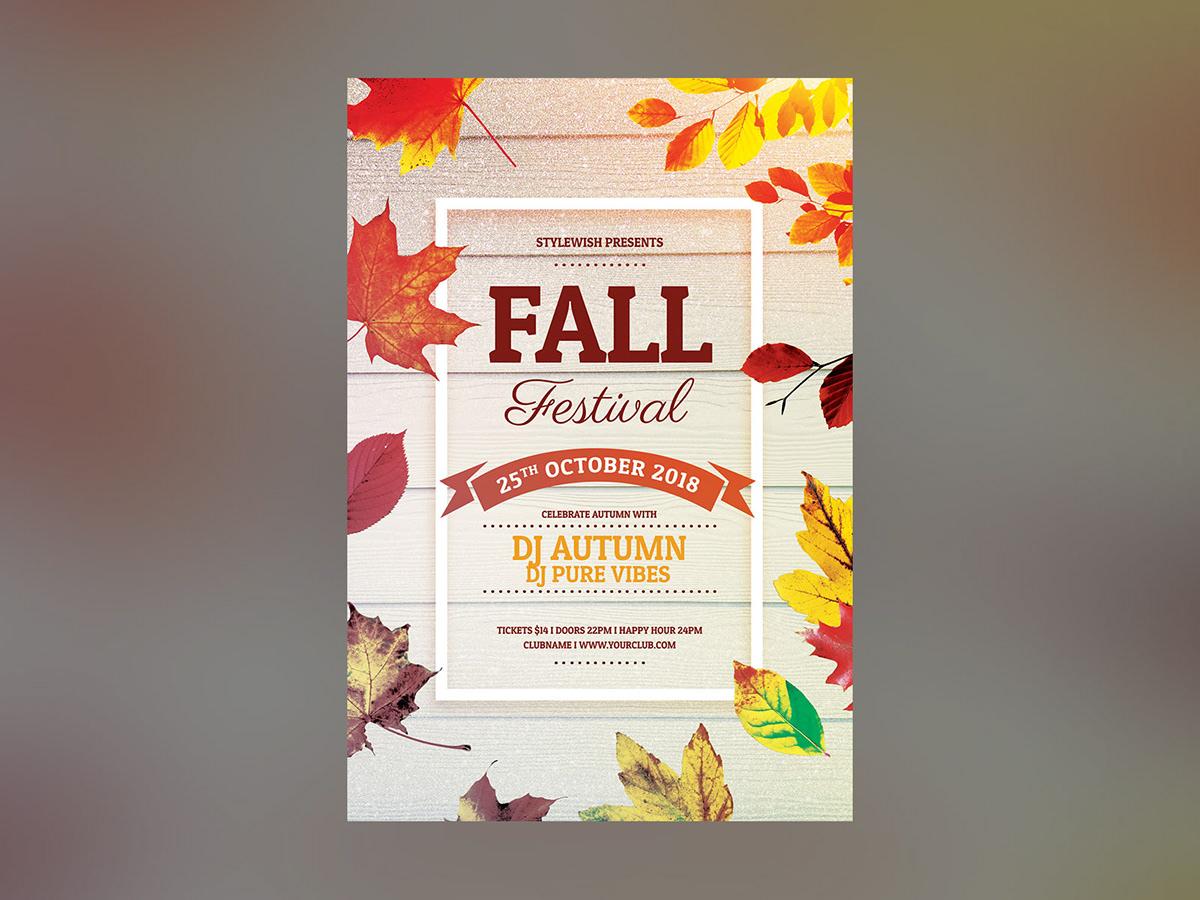 fall festival flyer template on behance