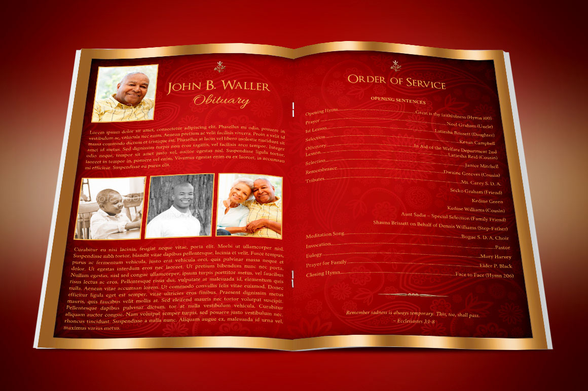 red gold dignity funeral program publisher template on behance