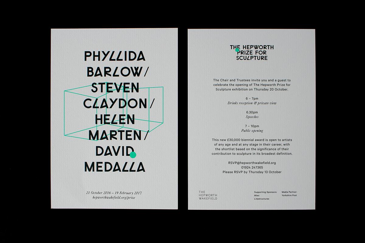 Awards sculpture neon logo poster Invitation geometric gallery Hepworth prize