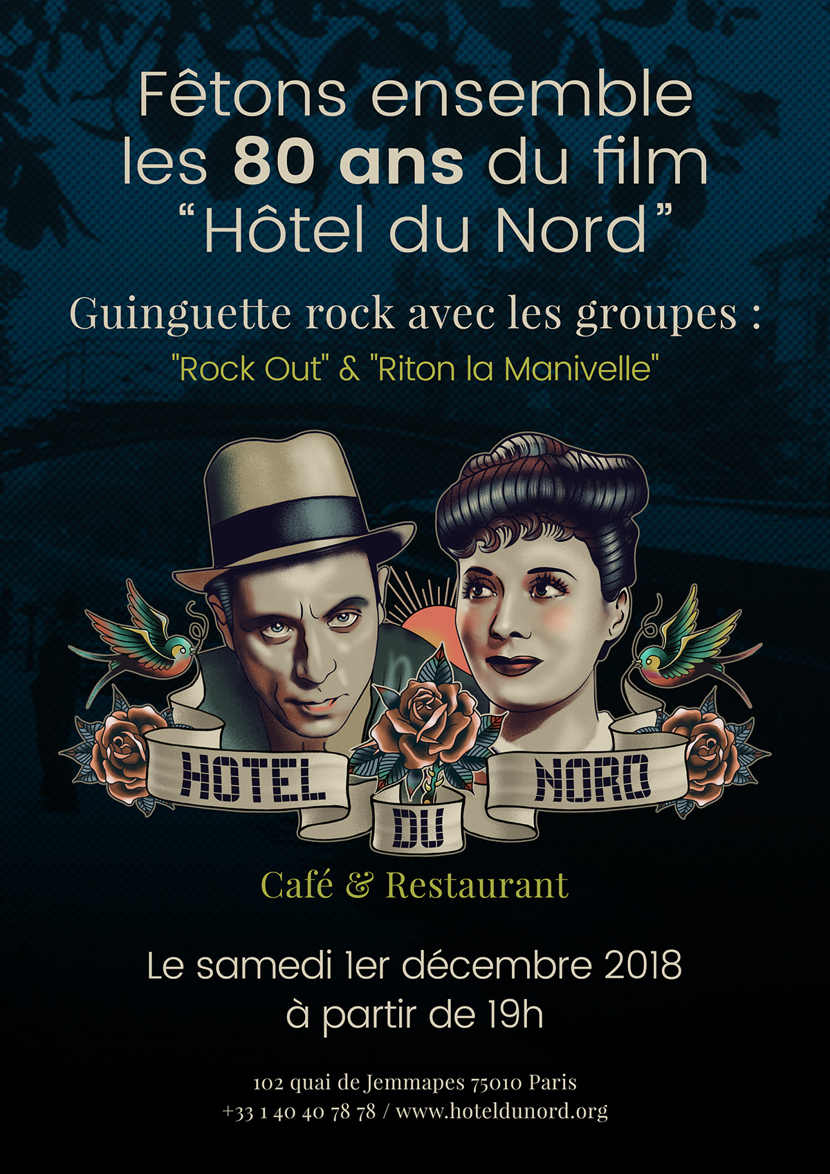 affiche Cinema france ILLUSTRATION  Paris restaurant sticker totebag vitrine
