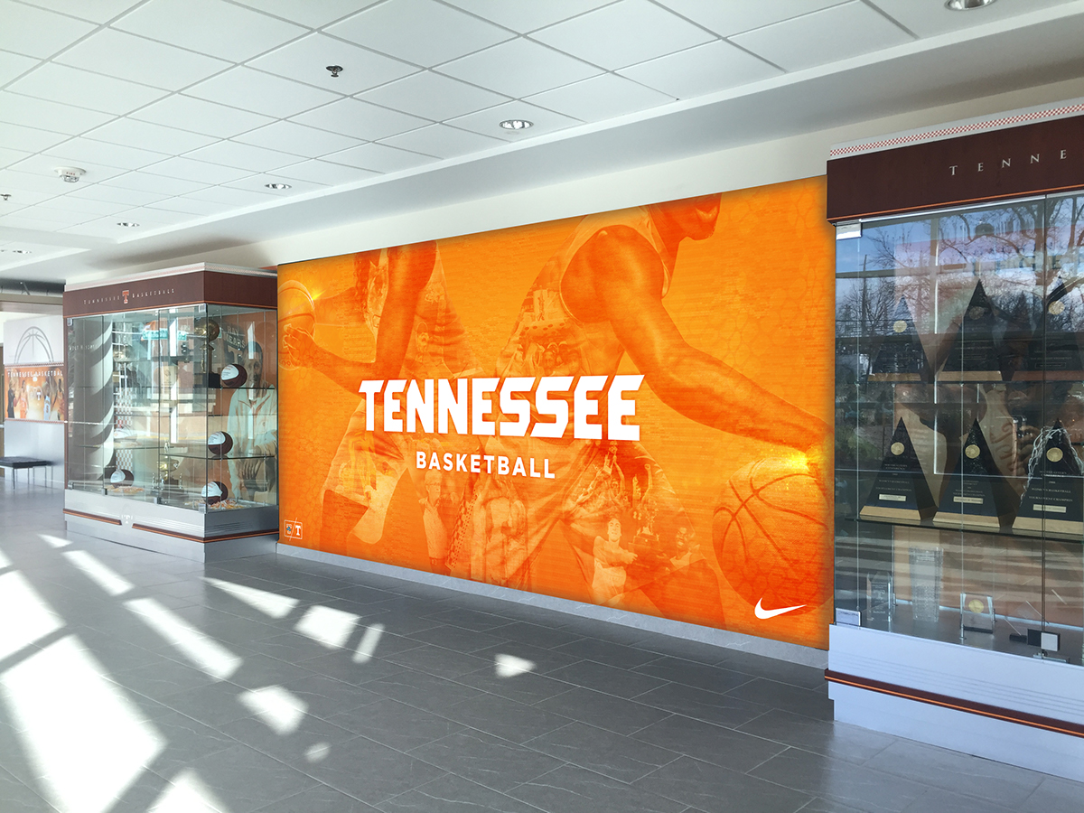 tennessee basketball graphics on behance a wall mural in the lobby of the pratt athletic complex