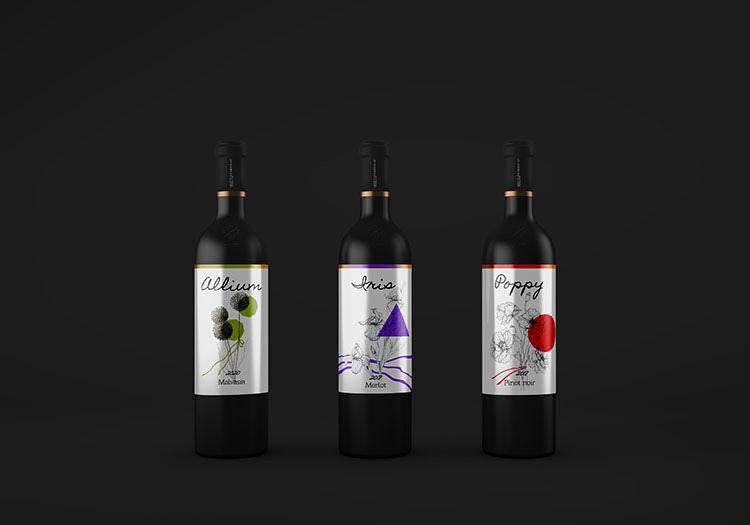 Floral design of wine labels