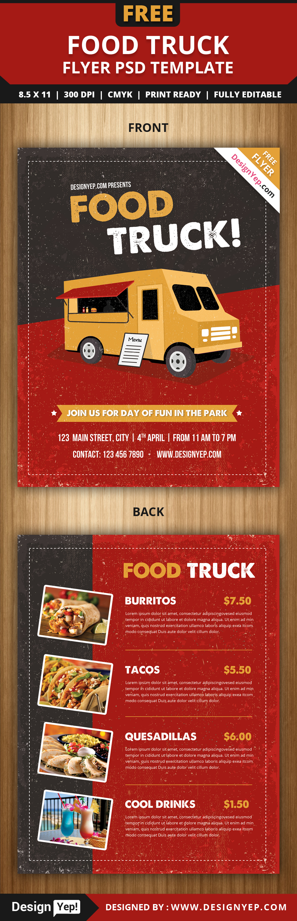 Free Food Truck Flyer PSD Template On Behance - Food truck flyer template