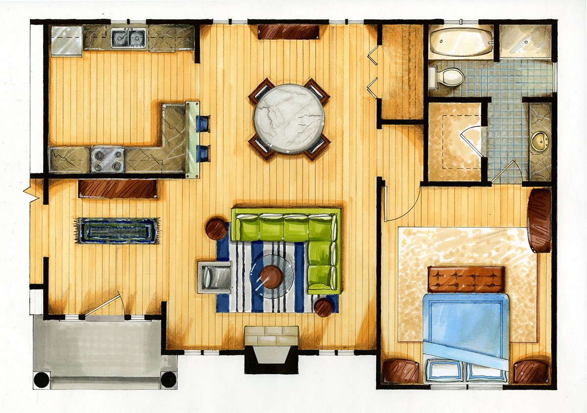 Marker and colored pencil drawing apartment floor plan on for Plan rendering ideas