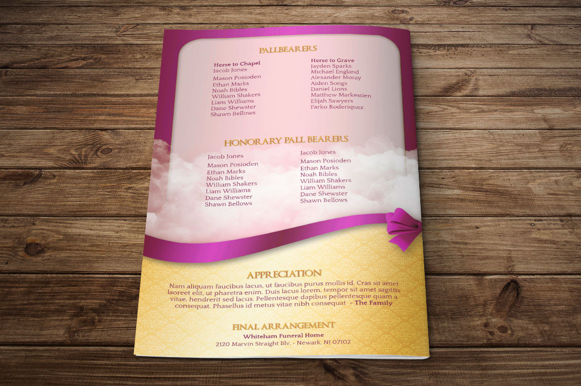 Pink Ribbon Funeral Program Publisher Template On Behance