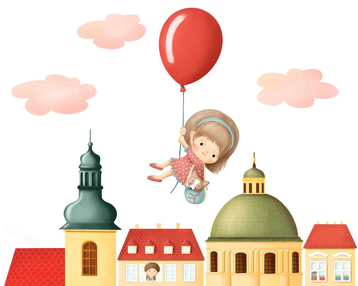 balloon children girl houses ILLUSTRATION  sticker town