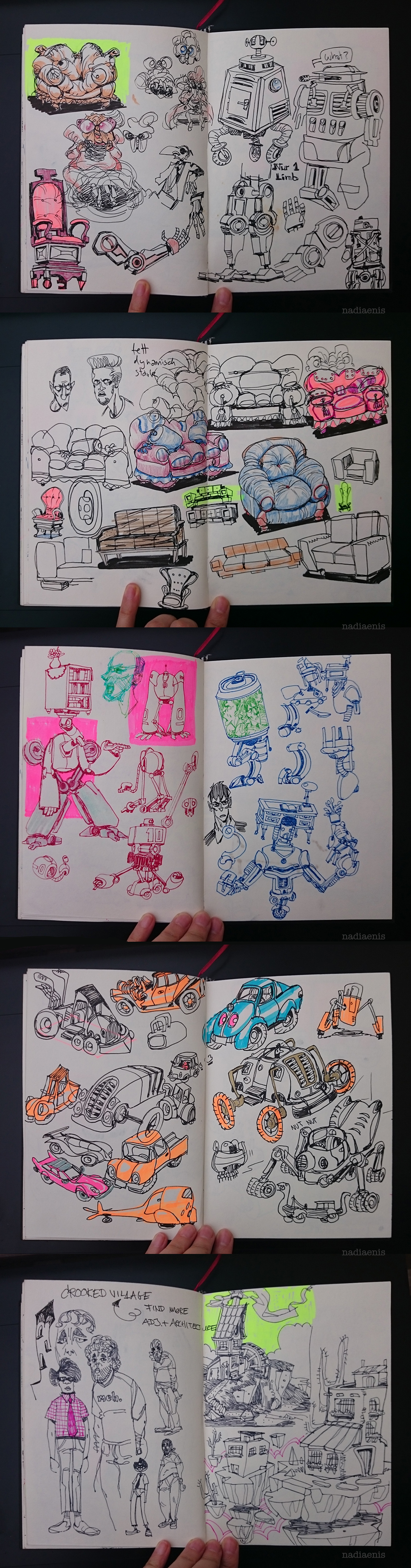 sketchbook sketchy Loose graphite studies houses machines robots mobile