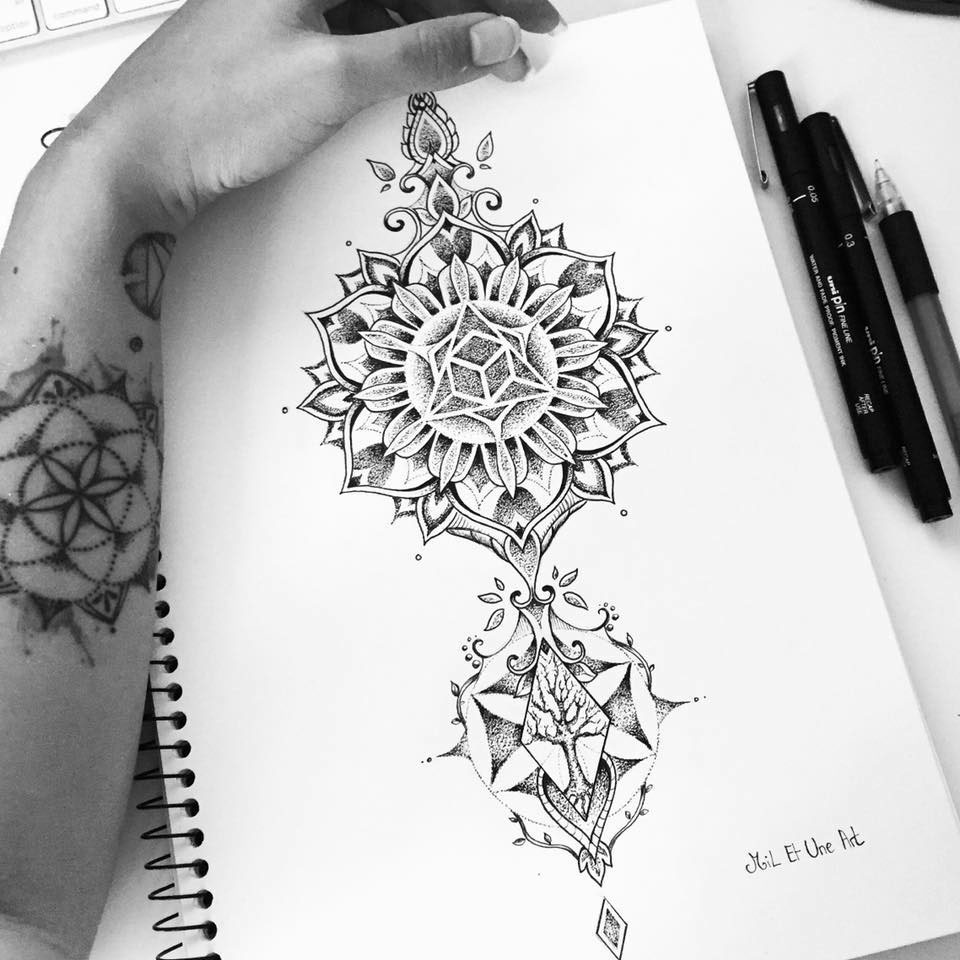 Mandala calf tattoo design on Behance