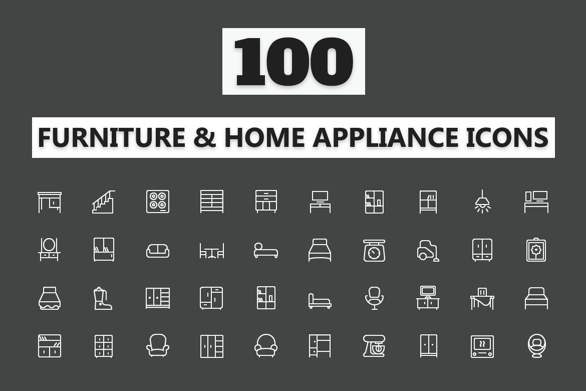 . 100 Home Furniture Icons   Electronic Appliances Icons on Behance