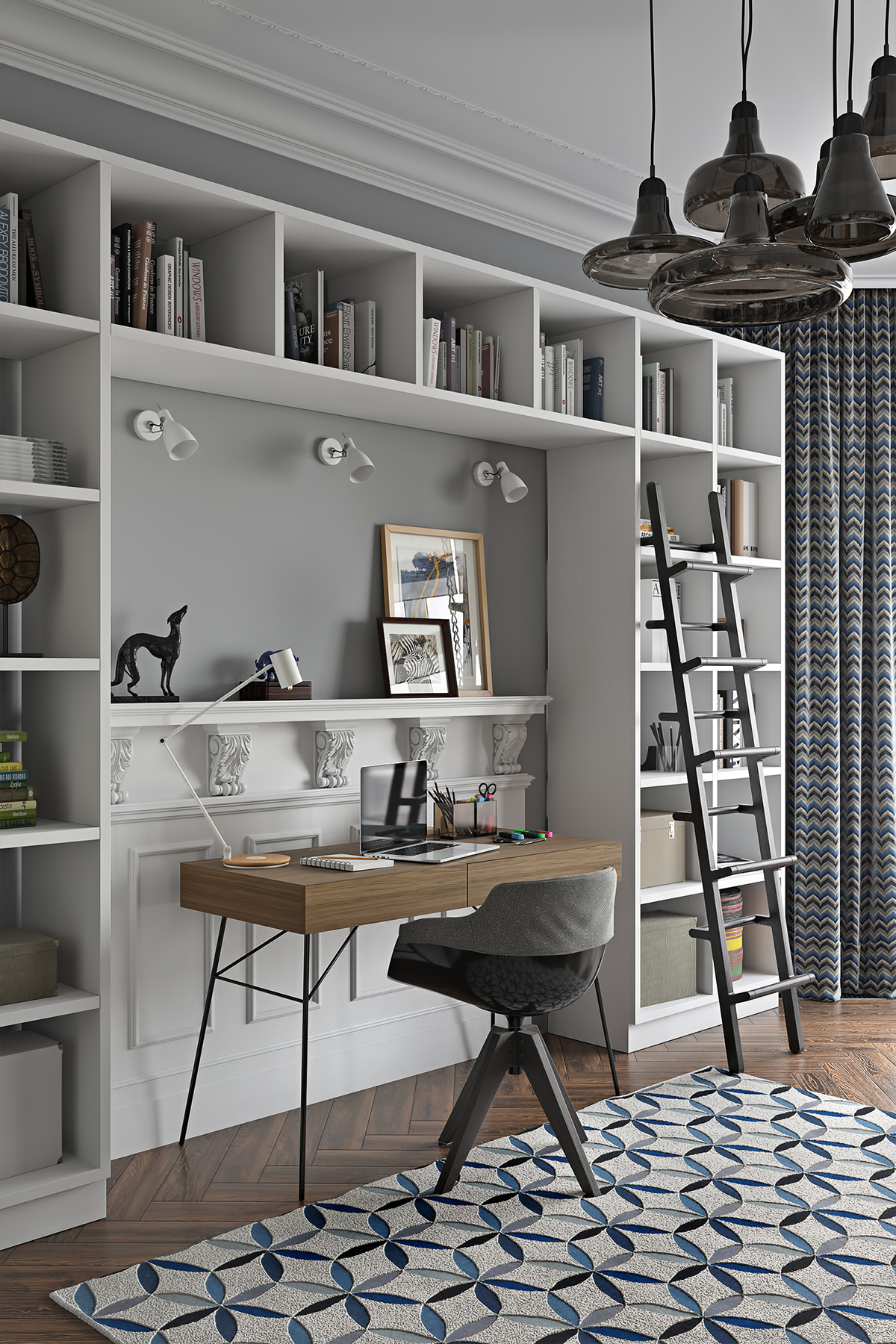 Residential Interior Project Has Modern Yet Vintage Take: Cold Eclectic Apt. (april 2016) On Behance