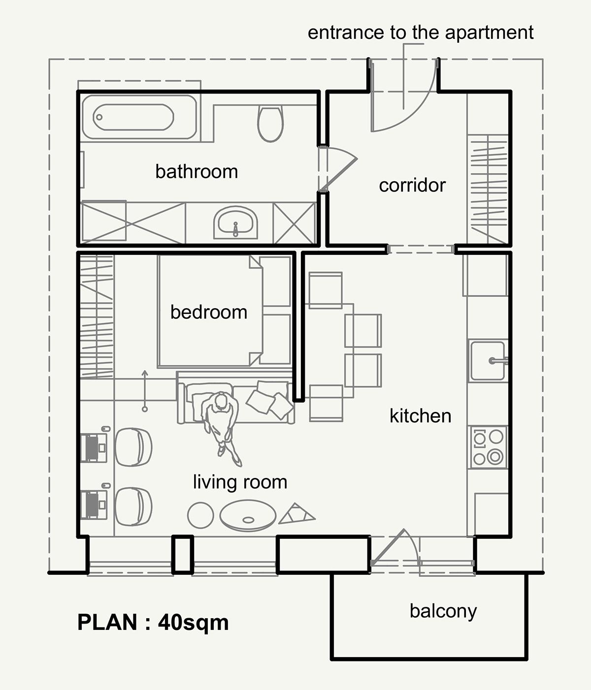 Apartament verbi on behance for Progetto casa in legno dwg