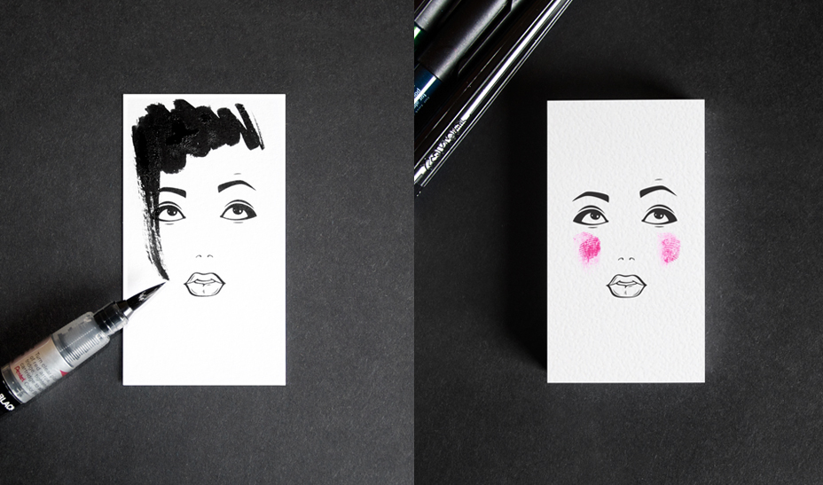 Business card for a makeup artist and hair stylist on Behance