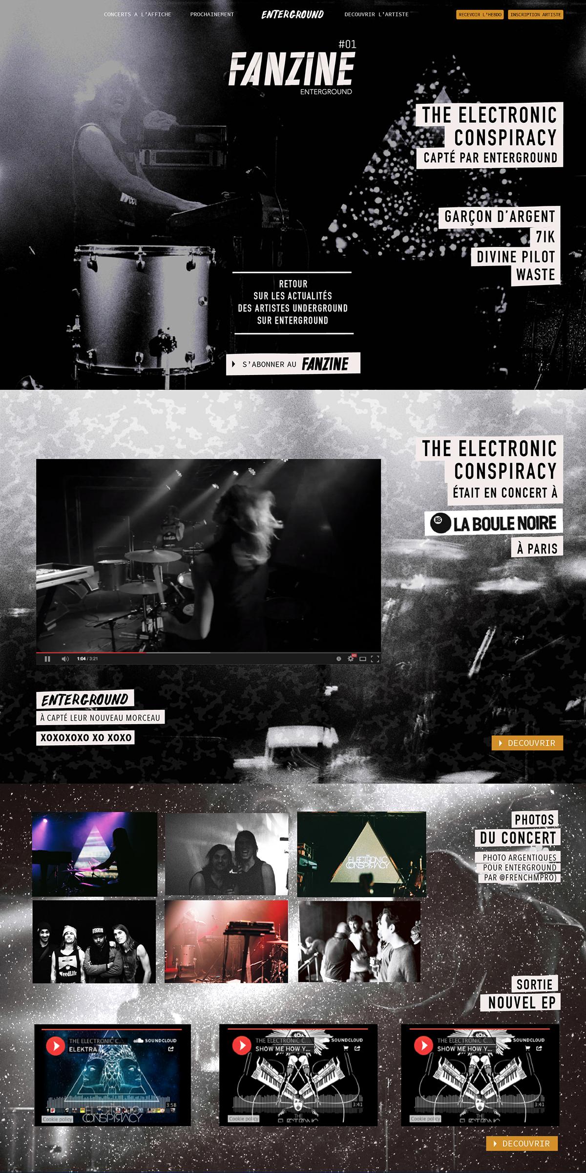 fanzine newsletter Enterground Musique pop electro underground Webdesign Responsive artistes concert Paris