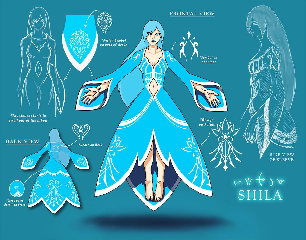 concept art ice digital Layout conceptual symbol dress blue anime girl Lotus