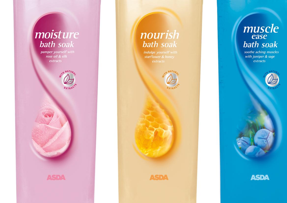 ASDA Bath & Shower Range Packaging Design on Behance