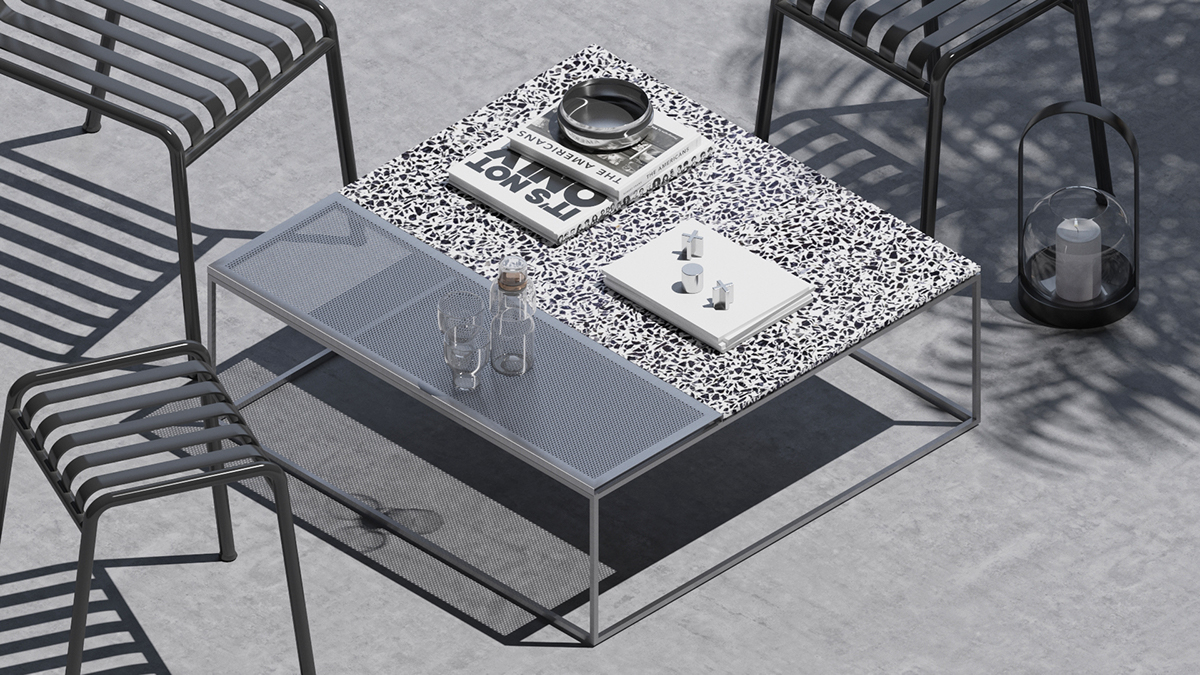 Metal Parts Of The Table Top Feature Perforations On The Surface That  Create Transparency, Light And Clean Aesthetic. The Design Can Be Used Both  Indoor And ...
