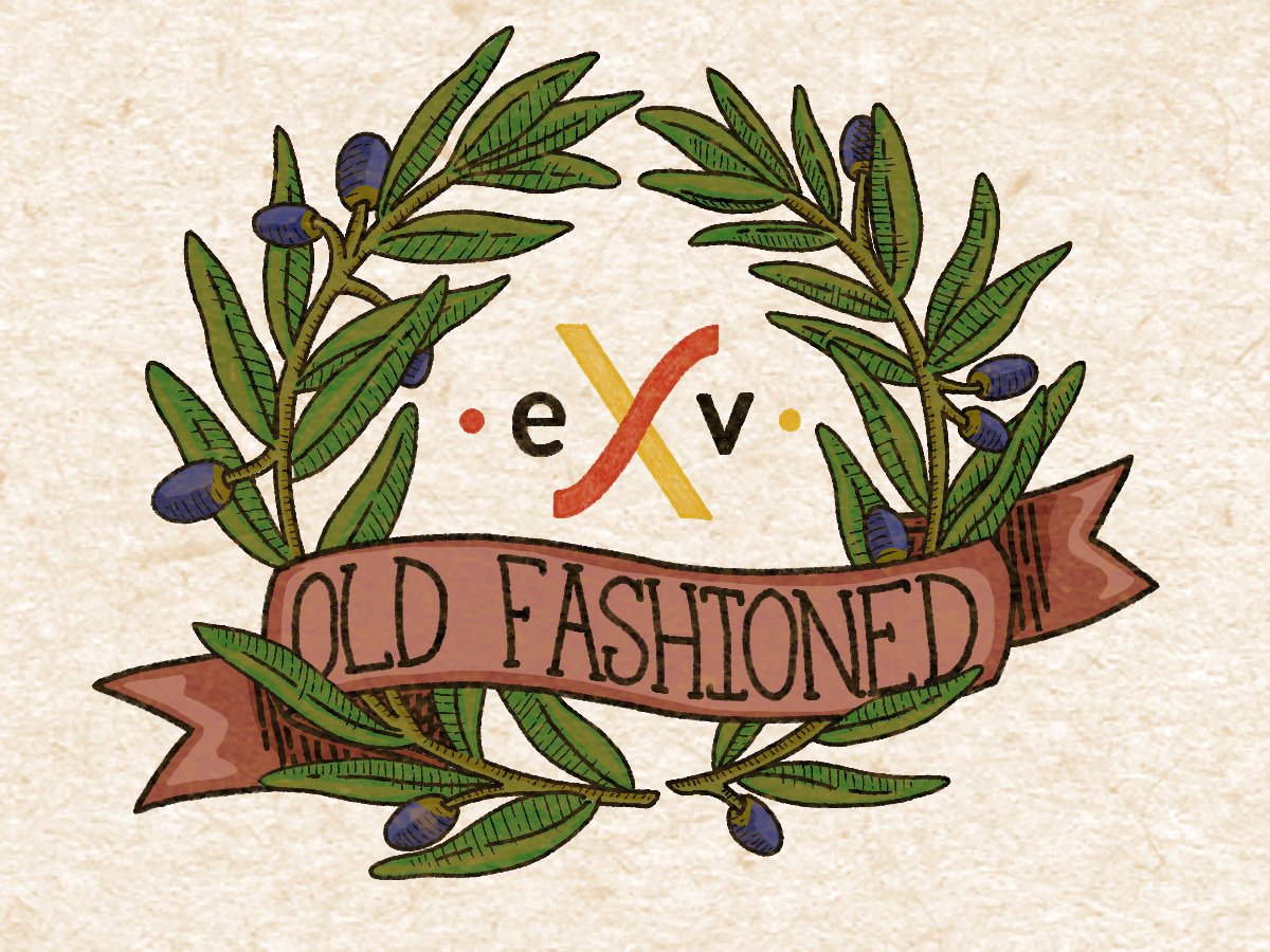 cocktail ILLUSTRATION  old fashioned olive olive branches typography   wreath
