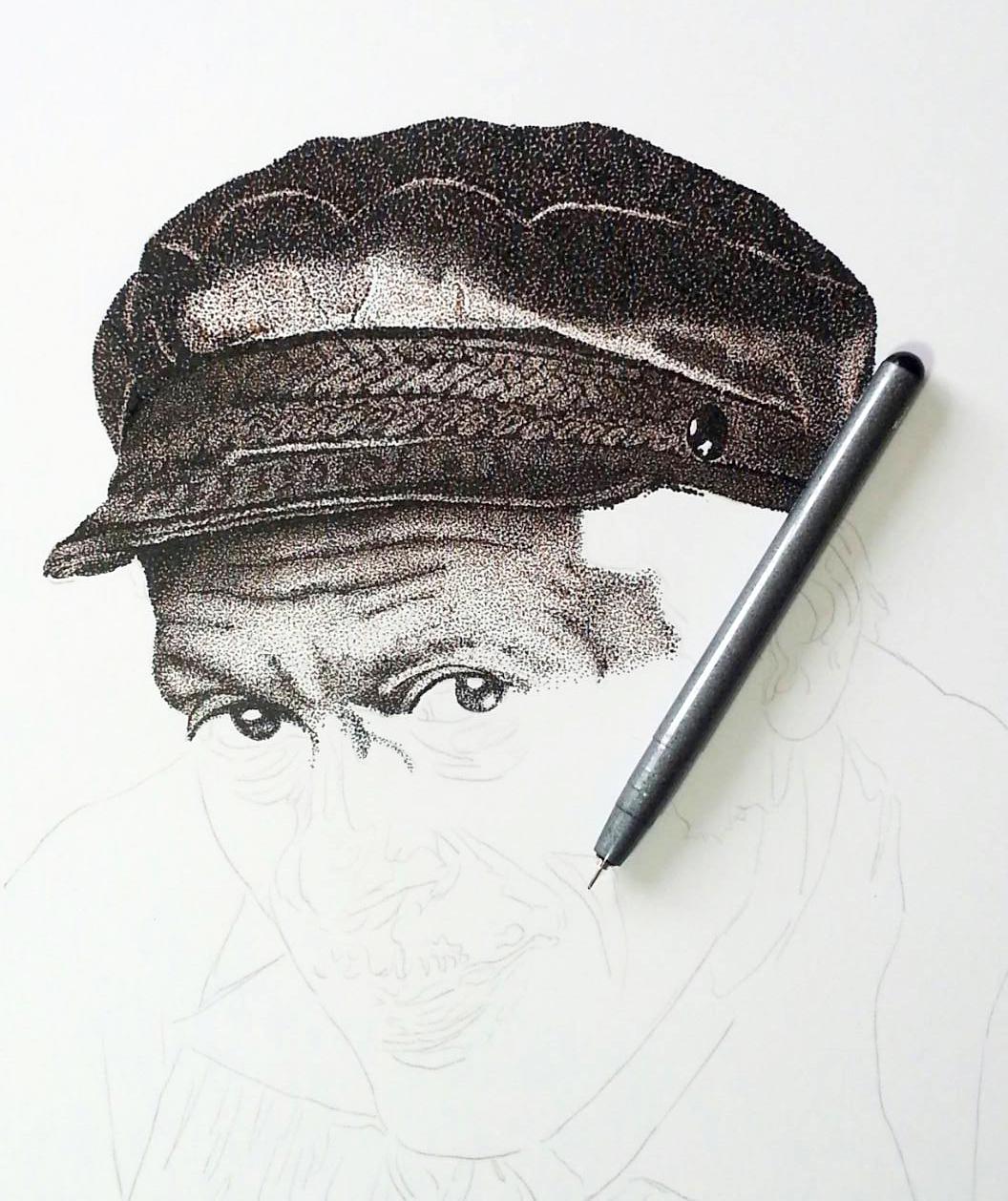 chuck berry portrait dotwork pointillismus Black&white