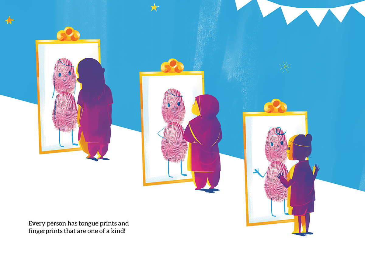 3 children looking at their reflections in the mirror, they look like thumb prints