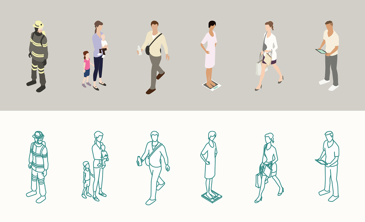 Demonstration of isometric people illustrations show a firefighter, mother with kids, man walking, a woman on a scale, a woman shopping, and a man looking at a tablet. The same group of people is showin in full color on a tan background, as well as in outline format on a white background.